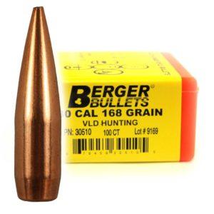 Berger Bullets - 30 cal, 168 GR, Match VLD Hunting